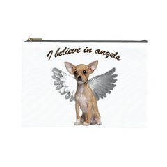 Angel Chihuahua Cosmetic Bag (large)  by Valentinaart