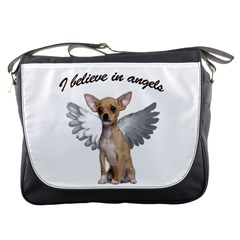 Angel Chihuahua Messenger Bags by Valentinaart