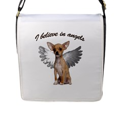 Angel Chihuahua Flap Messenger Bag (l)  by Valentinaart