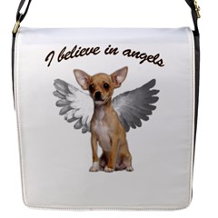 Angel Chihuahua Flap Messenger Bag (s) by Valentinaart