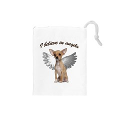 Angel Chihuahua Drawstring Pouches (small)  by Valentinaart