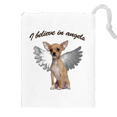 Angel Chihuahua Drawstring Pouches (xxl) by Valentinaart