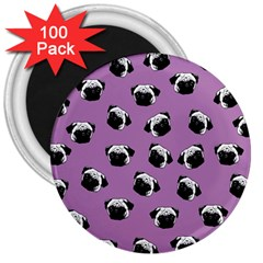 Pug Dog Pattern 3  Magnets (100 Pack) by Valentinaart