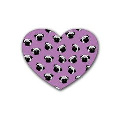 Pug Dog Pattern Heart Coaster (4 Pack)  by Valentinaart