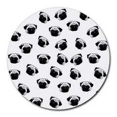 Pug Dog Pattern Round Mousepads by Valentinaart
