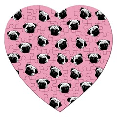 Pug Dog Pattern Jigsaw Puzzle (heart) by Valentinaart