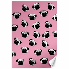 Pug Dog Pattern Canvas 24  X 36  by Valentinaart