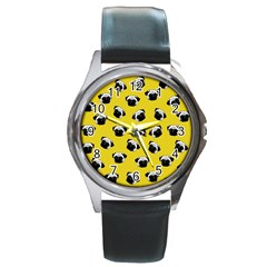 Pug Dog Pattern Round Metal Watch by Valentinaart