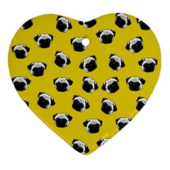 Pug Dog Pattern Ornament (heart) by Valentinaart