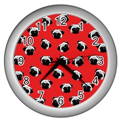 Pug Dog Pattern Wall Clocks (silver)  by Valentinaart