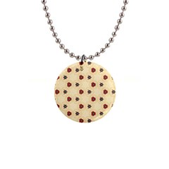 Orange Flowers Pattern         1  Button Necklace by LalyLauraFLM