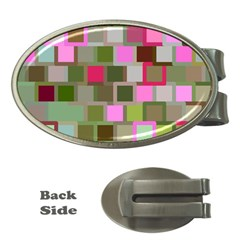 Color Square Tiles Random Effect Money Clips (oval)  by Nexatart