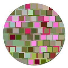 Color Square Tiles Random Effect Magnet 5  (round) by Nexatart