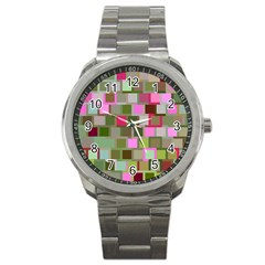Color Square Tiles Random Effect Sport Metal Watch by Nexatart
