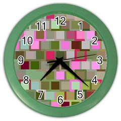 Color Square Tiles Random Effect Color Wall Clocks by Nexatart