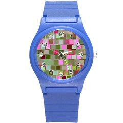 Color Square Tiles Random Effect Round Plastic Sport Watch (s) by Nexatart