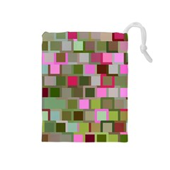Color Square Tiles Random Effect Drawstring Pouches (medium)  by Nexatart