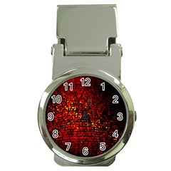 Red Particles Background Money Clip Watches by Nexatart