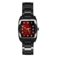Red Particles Background Stainless Steel Barrel Watch by Nexatart