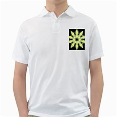 Yellow Snowflake Icon Graphic On Black Background Golf Shirts
