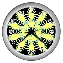 Yellow Snowflake Icon Graphic On Black Background Wall Clocks (silver)  by Nexatart