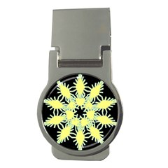 Yellow Snowflake Icon Graphic On Black Background Money Clips (round)