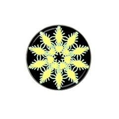 Yellow Snowflake Icon Graphic On Black Background Hat Clip Ball Marker