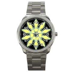Yellow Snowflake Icon Graphic On Black Background Sport Metal Watch by Nexatart