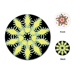 Yellow Snowflake Icon Graphic On Black Background Playing Cards (round)