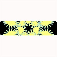 Yellow Snowflake Icon Graphic On Black Background Large Bar Mats by Nexatart