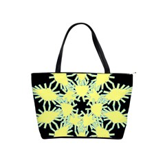 Yellow Snowflake Icon Graphic On Black Background Shoulder Handbags by Nexatart