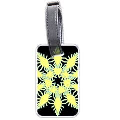 Yellow Snowflake Icon Graphic On Black Background Luggage Tags (two Sides) by Nexatart