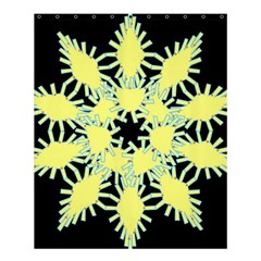 Yellow Snowflake Icon Graphic On Black Background Shower Curtain 60  X 72  (medium)