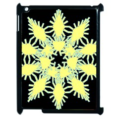 Yellow Snowflake Icon Graphic On Black Background Apple Ipad 2 Case (black)