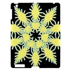 Yellow Snowflake Icon Graphic On Black Background Apple Ipad 3/4 Hardshell Case