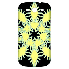 Yellow Snowflake Icon Graphic On Black Background Samsung Galaxy S3 S Iii Classic Hardshell Back Case by Nexatart