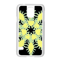 Yellow Snowflake Icon Graphic On Black Background Samsung Galaxy S5 Case (white) by Nexatart