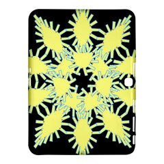 Yellow Snowflake Icon Graphic On Black Background Samsung Galaxy Tab 4 (10 1 ) Hardshell Case  by Nexatart