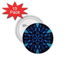 Blue Snowflake On Black Background 1 75  Buttons (10 Pack)