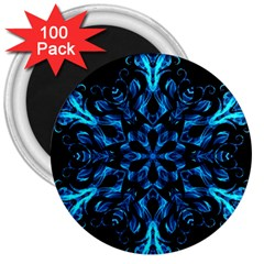 Blue Snowflake On Black Background 3  Magnets (100 Pack) by Nexatart