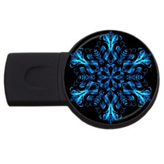 Blue Snowflake On Black Background Usb Flash Drive Round (4 Gb)