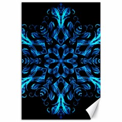 Blue Snowflake On Black Background Canvas 24  X 36