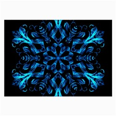 Blue Snowflake On Black Background Large Glasses Cloth