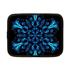 Blue Snowflake On Black Background Netbook Case (small)  by Nexatart