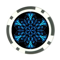 Blue Snowflake On Black Background Poker Chip Card Guard (10 Pack)