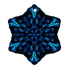 Blue Snowflake On Black Background Snowflake Ornament (two Sides) by Nexatart