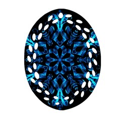 Blue Snowflake On Black Background Oval Filigree Ornament (two Sides) by Nexatart