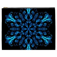 Blue Snowflake On Black Background Cosmetic Bag (xxxl)