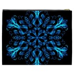 Blue Snowflake On Black Background Cosmetic Bag (XXXL)  Back