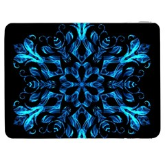 Blue Snowflake On Black Background Samsung Galaxy Tab 7  P1000 Flip Case by Nexatart